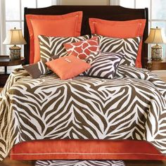 Brown Zebra Bedding - bring cool African decor style to your bedroom with brown zebra comforter sets. Choose from brown zebra bedding sets in all sizes and styles Zebra Print Bedroom, Zebra Bedding, Animal Print Bedding, Animal Print Decor, Orange Bedding, Quilt Bedding, Animal Prints, Brown Bedding, Coral Bedroom