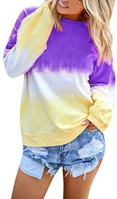 Gradient Color Sweatshirt Women O Neck Shirts & Tops, Sweat Shirt, Long Sleeve Tops, Long Sleeve Shirts, Harajuku, Shirt Bluse, Casual Tops, Casual Wear, Casual Shirt