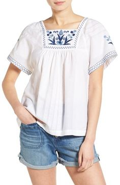 Madewell Embroidered Short Sleeve Peasant Top available at #Nordstrom