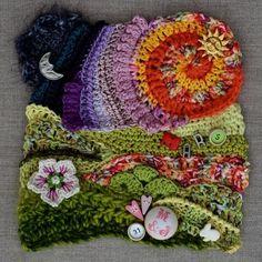 OfMars- freeform crochet by cristina.jelescu.5 Art Au Crochet, Beau Crochet, Crochet Motifs, Freeform Crochet, Crochet Stitches Patterns, Crochet Squares, Crochet Home, Irish Crochet, Crochet Crafts