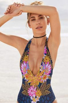$79 | Love this! Need this! | Out From Under Plunging V Printed One-Piece Swimsuit | women's fashion | women's swimsuit | swimwear | one-piece swimsuit | beach style | beach babe | bathing suit | #ad