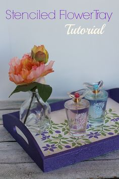 Make the mom in your life feel loved everyday of the year with our stenciled flower tray tutorial and fine fragrances from Walmart! #L2LMom #ad