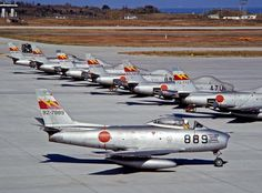Japans first self defence force after WWII, using the Sabre. Air Fighter, Fighter Pilot, Fighter Jets, Ww2 Aircraft, Fighter Aircraft, Military Aircraft, Sabre Jet, Air Machine, Airplane Art