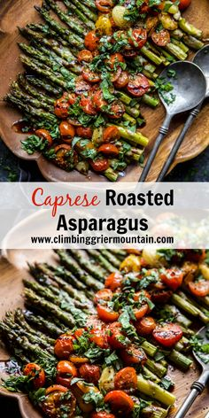 Caprese Roasted Asparagus - Climbing Grier Mountain Caprese Roasted Asparagus is a lovely spring dish perfect for Easter Dinner! Roasted asparagus topped with mozzarella, fresh tomatoes and a balsamic glaze. This will definitely be a hit! Best Roasted Vegetables, Roasted Vegetable Recipes, Veggie Recipes, Vegetarian Recipes, Veggies, Cooking Recipes, Healthy Recipes, Vegan Asparagus Recipes, Roasted Veggie Salad