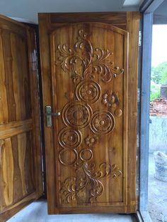 Artistic Wooden Door Design Ideas To Try Right Now 27 - Lilly is Love Wooden Front Door Design, Front Door Design Wood, Room Door Design, Wooden Front Doors, Wooden Door Hangers, Single Main Door Designs, Latest Door Designs, Door Design Images, Exterior Doors