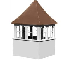 "32"" Elite Cupola with Windows - Our 32"" Elite Series copper/poly cupola add additional strength and durability with 2"" x 3"" bracing on inside corners and never needs painting. Traditional design with concave arched soldered copper roof and windows. All exterior screws are stainless steel. 32"" x 32"" base, 37"" x 37"" roof."