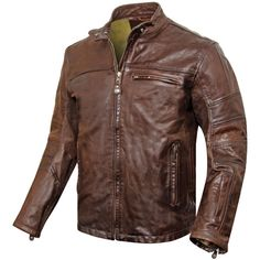 Roland Sands Ronin Tobacco Leather Jacket - Retro style cafe racer leather motorcycle jacket.