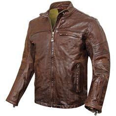 Roland Sands Ronin Tobacco Leather Jacket - Retro style cafe racer leather motorcycle jacket.