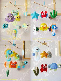 Under the Sea Mobile - Baby Crib Mobile - Nursery Mobile - Handmade Hanging Mobile - Polka Dot Go Fish Ocean theme(Custom color available). $85.00, via Etsy.