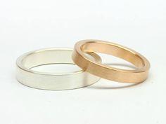 Trauringe Eheringe Gegensätze 585 Roségold 925 Silber