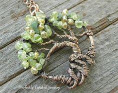 Wire Wrapped Tree of Life Bonsai Pendant Peridot Wire Wrap Handmade Jewelry, Beaded Wire Tree Jewelry Perfectly Twisted Jewelry, August
