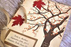 Fall Autumn Guest Book Leaves Tree Rustic Country Fall Wedding Guest Book