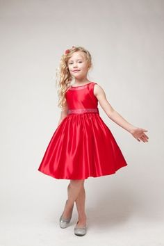 More girls christmas dresses red flower polysatin flower girls dresses