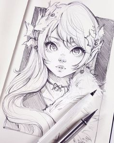 "20.3k Likes, 87 Comments - Asia Ladowska (@ladowska) on Instagram: ""Slow steps into a festive mood sketching an elf The year is ending but I have two more things to…"""