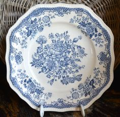 Blue Toile Transferware Square Plate Roses Bird Butterfly England Blue