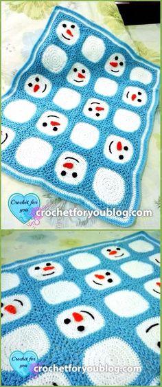 Crochet Snowman Granny SquareBlanketFree Pattern - Crochet Christmas Blanket Free Patterns