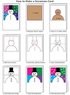Abstract Snowman Diagram - make your sponsored child one of these snowman cards, then send them this picture tutorial so they can make one of their own!