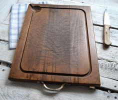 French Vintage Rustic Wooden Chopping/Cutting Block Cheese Bread Board Wood with Metal Handle Food Photography Props