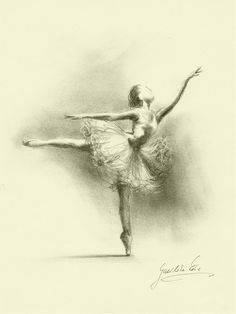 Ballet Drawing - Limited Edition 8 x 11 print of original pencil by EwaGawlik