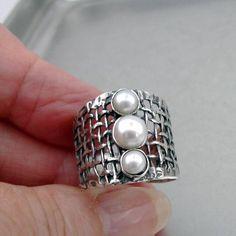 Freshwater Cultured Pearls Nested in 925 Silver Fancy Delicate Flower Brooch Handpicked AAA