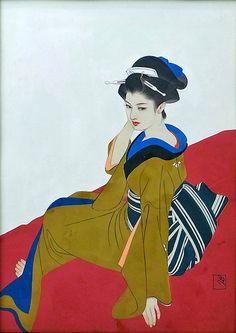 Shimura Tatsumi 志村立美 (1907-1980) Bijin on red seat - 1960