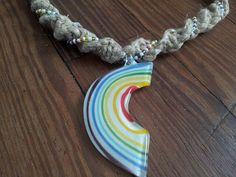 Beaded+hemp+necklace+with+glass+rainbow+by+IndigoCrush+on+Etsy,+$22.00