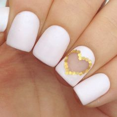 Matte White Short Nails With Accent Sequin Gold Heart