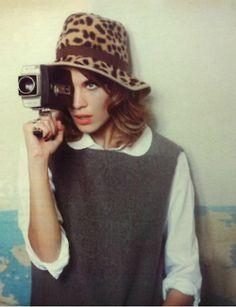 Alexa chung #leopard #hat #chapeau #cheetah #printed #animal #photography #fashion #camera