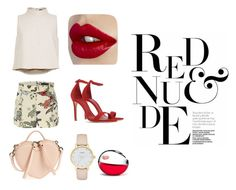 """""""when nude becomes red"""" by dinda-devani-putri ❤ liked on Polyvore featuring TIBI, Gucci, Marc Jacobs, Schutz, Kate Spade and DKNY"""