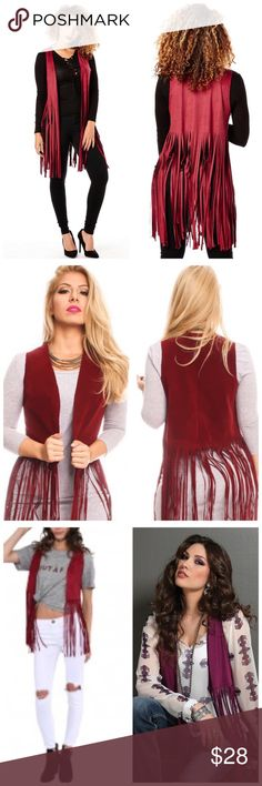 "Just In❤ Suede Fringe Vest Burgundy Suede Fringe Vest. Material: 98% Polyesters 2% Spandex. Measurements Laying Flat Are: BUST: 16"" , WAIST: 16"" LENGTH: 29"" . (Measured From Small.) SoChic Jackets & Coats Vests"