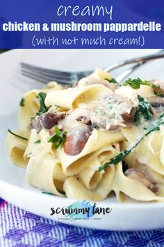 This creamy chicken and mushroom pappardelle is only made with a tiny bit of cream! Combine chicken, mushrooms, cream, and a few secret ingredients for a delicious and lighter creamy chicken pasta.