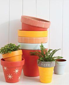 Terra Cotta Pots- colorful delight... #planters #DIY #urbanzealplanters