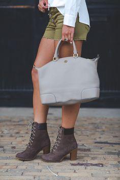 White long blouse+khaki shorts+brown boots+grey handbag. Fall outfit 2016