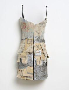 Textile and text - Reconstructed dress form with layers of paper, vintage kimono textiles, bookbinding fabric and type. Based on a couture dress seen in Paris - Marilyn Stevens Layers Paper Fashion, Fashion Art, Fashion Design, Textiles, Paper Clothes, Mn Artists, Mixed Media Artwork, Vintage Kimono, Assemblage Art