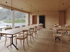 Maison du lac by Capaul & Blumenthal — Atlas of Places Davos, Architecture, Conference Room, Restaurant, Chair, Places, Interior, Furniture, Home Decor