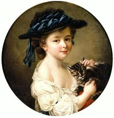 Portrait Of A Girl Holding A Cat by François-Hubert Drouais (French, Funny Cats And Dogs, Cats And Kittens, Best Portraits, Pictures To Paint, Ancient Art, Beautiful Paintings, Vintage Children, Crazy Cats, Cat Art
