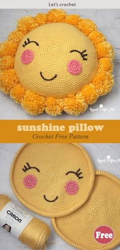 Crochet Toys Patterns Crochet Pompom Sunshine Pillow Free Pattern - This Crochet Pompom Sunshine Pillow Free Pattern is a cute pillow that kids are sure to enjoy. Make one now with the free pattern provided by the link below. Crochet Pillow Cases, Crochet Pillow Patterns Free, Crochet Cushions, Crochet Toys Patterns, Baby Knitting Patterns, Stuffed Toys Patterns, Crochet Dolls, Free Crochet, Free Pattern