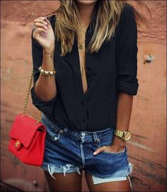 black blouse, denim shorts