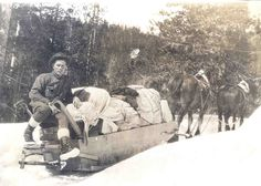 Horse-drawn sled, ca. 1920 A star route carrier on the McCall to Warren, Idaho, mail route rests on the back of his sled circa 1920. The horses wore special snow shoes. Star route carriers, who worked under contract with the Post Office Department, used any means necessary to get the mail through, including boats, sleds, snowshoes, and skis.