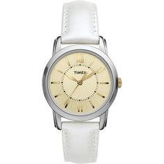 Timex Women's | White Leather Strap Champagne Dial | Classics Dress Watch T2N682 #Timex #Dress