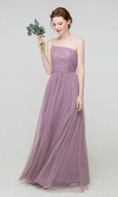 Elegant Long Tulle One Shoulder Bridesmaid Dress with Slit TBQP514#wedding #weddinginspiration #bridesmaids #bridesmaiddresses #bridalparty #maidofhonor #weddingideas #weddingcolors #tulleandchantilly