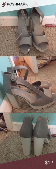 Never worn grey and white chunky heels Grey and white chunky heels size 9. Never wore. Paint slightly on top of band charottle russe Shoes Heels