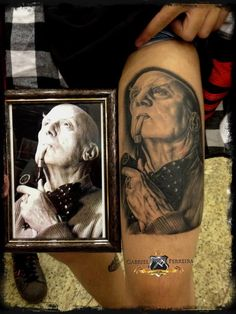 """""""My second tatto, an Aleister Crowley portrait, done at Gabriel Ferreira Tattoo Studio by Gabriel Ferreira at São Luís / Maranhão / Brazil.  Crowley was an English occultist , mystic and poet who was responsible for founding the religious philosophy of Thelema. His work, based upon the rule of """"Do What Thou Wilt"""", has influenced my life a lot.  This tattoo has won the first prize as 'best portrait' at the 'I Goiânia International Tattoo Festival' that took place in Goiânia / Goiás / Brazil."""""""