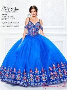 The fabric in this Princesa by Ariana Vara style is Sparkle Tulle, Lace Appliques & Beading. This style comes with a matching Jacket Quinceanera Collection Dress Colors: Royal Blue/Multi,Red/Multi. Quince Dresses Mexican, Mexican Quinceanera Dresses, Quinceanera Party, Quinceanera Decorations, Quinceanera Planning, Xv Dresses, Mori Lee Dresses, Charro Dresses, Vestido Charro