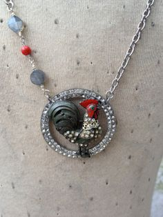 Altered one of a kind enameled rooster paste by funkyjunkmama, $68.00