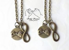 2 Bronze Infinity Pinky Promise Necklaces - Best Friends Infinity Necklaces - Couples  Infinity - Boyfriend Girlfriend Eternity Pinky Swear