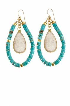 These bohemian chic Heishi Hoop Earrings will easily take you from day to night. Turquoise gemstone beads on gold fill wire are illuminated by agate druzy drops. Jewelry Crafts, Jewelry Box, Jewelry Necklaces, Handmade Jewelry, Women Jewelry, Jewelry Making, Jewellery, Statement Jewelry, Jewelry Ideas