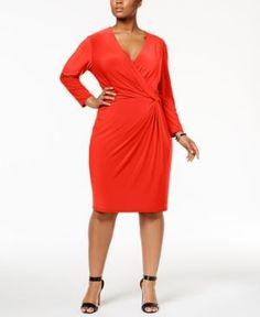 Anne Klein Plus Size Wrap Dress - Red 2X