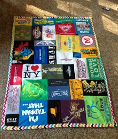 My tshirt quilt! I used the tutorial from www.instructables.com/id/T-shirt-Quilts by TamidP