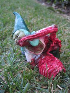 my kind of gnome - Gertrude Guts, a zombie gnome on Etsy's ChrisandJanesPlace